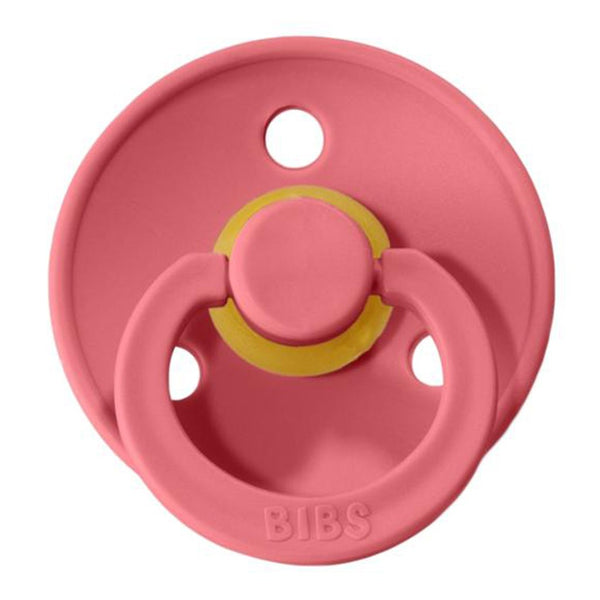 BIBS Infant BPA-Free Natural Rubber Newborn Baby Pacifiers coral pink warm dark