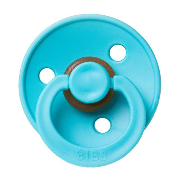 BIBS Infant BPA-Free Natural Rubber Newborn Baby Pacifiers turquoise bright light blue