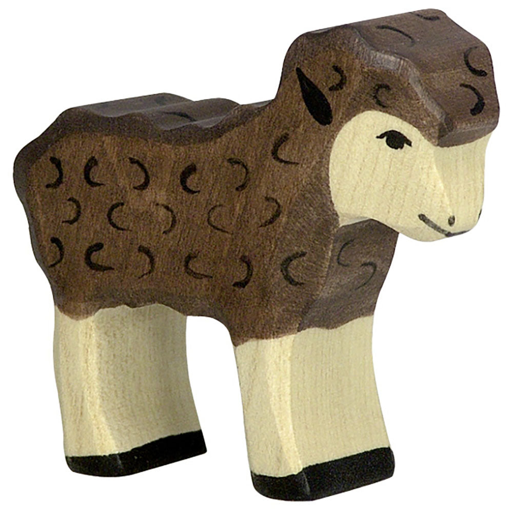 wooden animal baby lamb black sheep