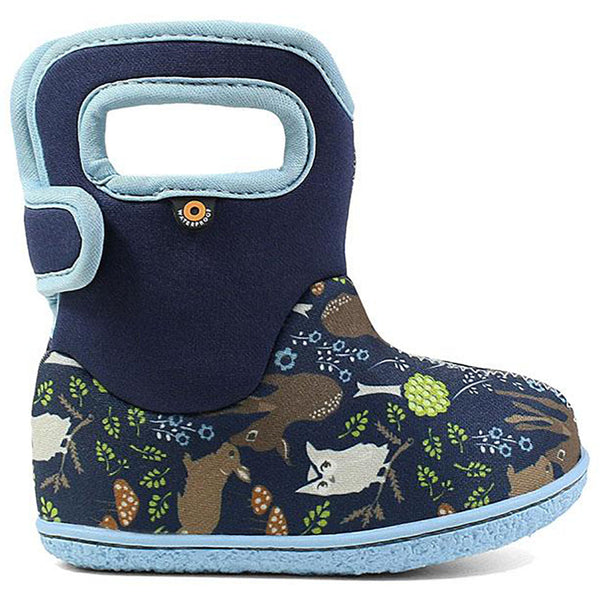 BOGS Classic Patterns Baby Waterproof Boots blue woodland dark light blue trim