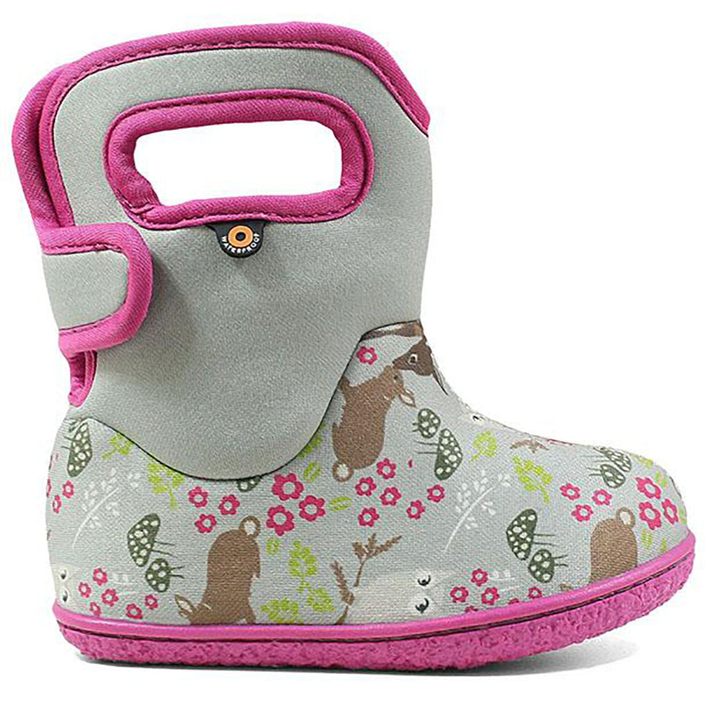 BOGS Classic Patterns Baby Waterproof Boots gray woodland pink trim