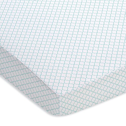 Outlet Breathable Baby Fitted Crib Sheet aqua blue white