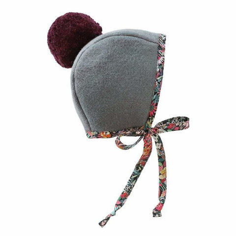 Briar Baby Florentina Pom Bonnet Infant Baby Clothing Accessory grey wool