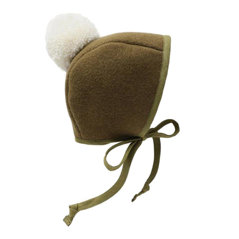 Briar Baby Olive Pom Bonnet Infant Baby Clothing Accessory green dark