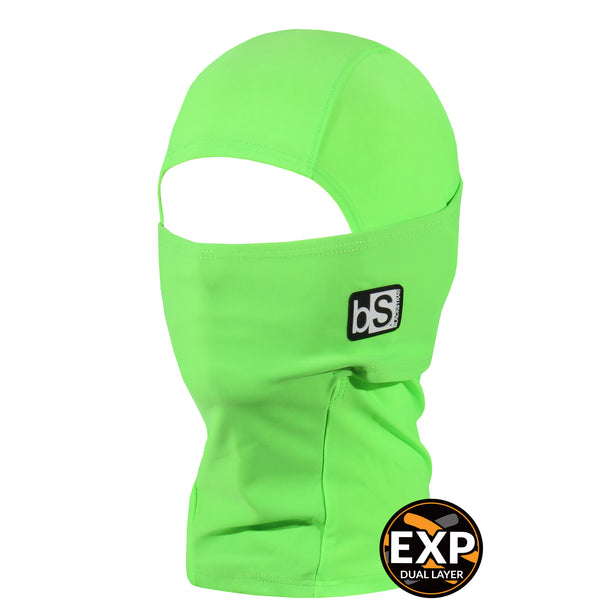 BlackStrap Kids Expedition Hood Dual Layer Balaclava Face Mask bright green