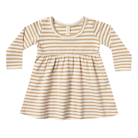 Quincy Mae 100% Organic Cotton Infant Baby Long Sleeve Dress honey stripe yellow brown white