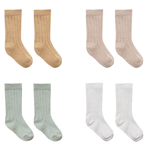 Quincy Mae 100% Organic Cotton Infant Baby Sock 4-Pack Box Set honey rose sage ivory orange pink green grey