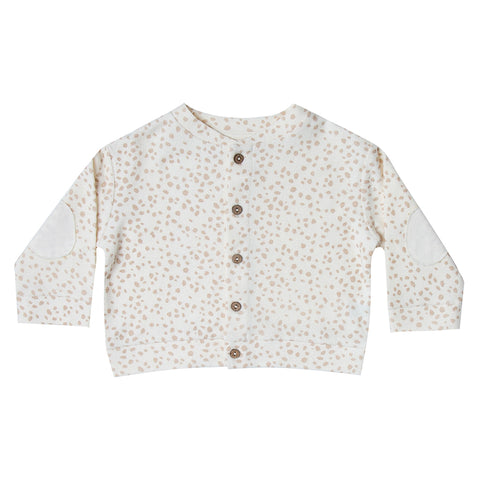 Rylee + Cru 100% French Terry Baby Button-Up Cardigan Sweater pebble white polka dot beige