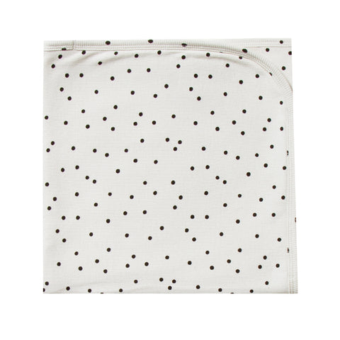 Quincy Mae 100% Organic Cotton Ribbed Infant Baby Security Blanket pebble white black polka dot