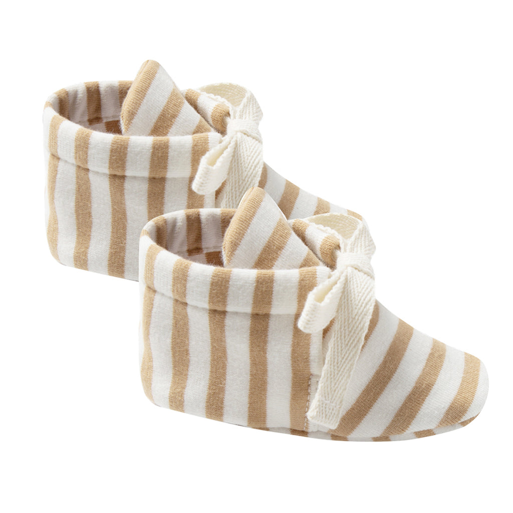 Quincy 100% Organic Cotton Tie-Up Infant Baby Bootie Shoes honey stripe brown yellow white