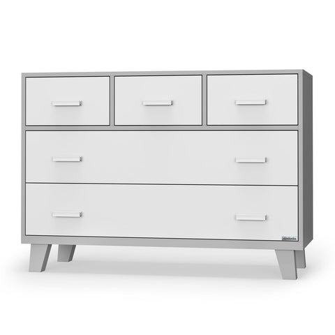 dadada White + Grey Boston 5-Drawer Dresser Children's Nursery Furniture