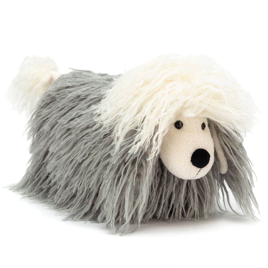 Jellycat Charming Chaucer Dog Children's Stuffed Animal Toy shaggy long hair grey white