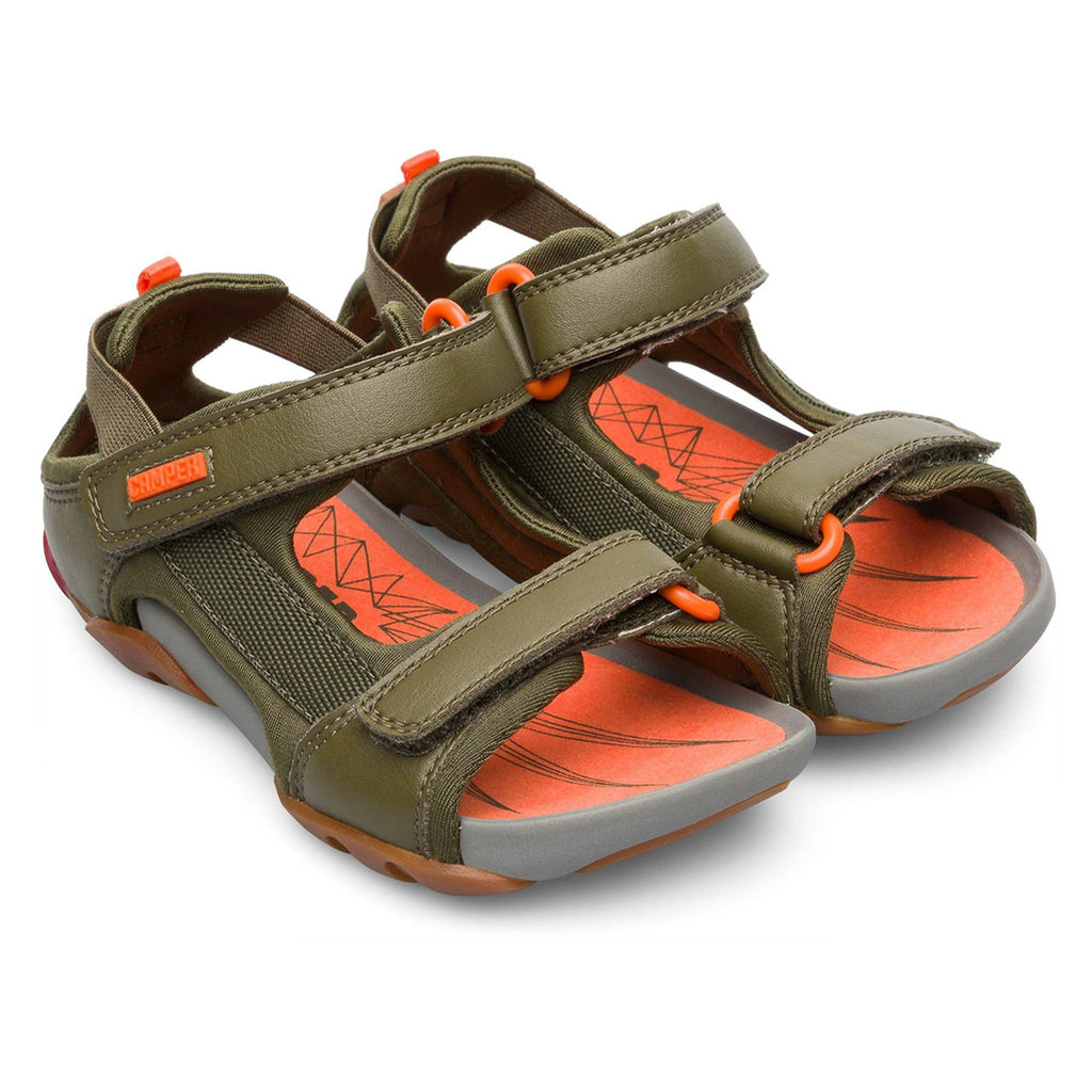 Camper Ous Sandals Jedi Kiwi Green Children's Shoes orange detail and sole