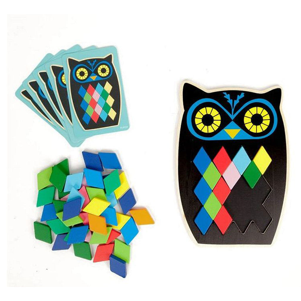 Djeco Kid's Wooden Owl Moza Boo Early Learning Colors & Pattern Toy multicolored