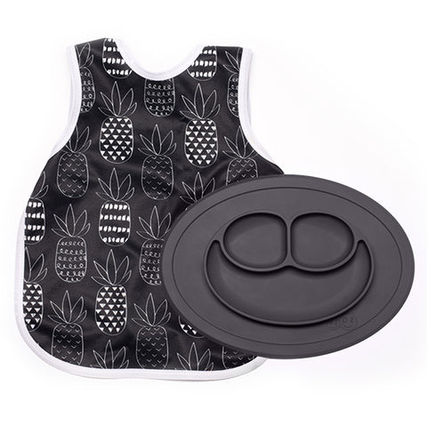 EZPZ Silicone Monochrome Collection Bapron Placemat & Bib Bundle black slate pineapples