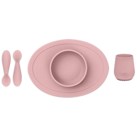 EZPZ First Foods Set with All-in-One Tiny Bowl, Tiny Spoons & Tiny Cup blush pink