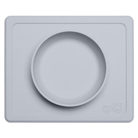 EZPZ Silicone Mini Bowl All-in-One Placemat and Bowl for Baby pewter light grey