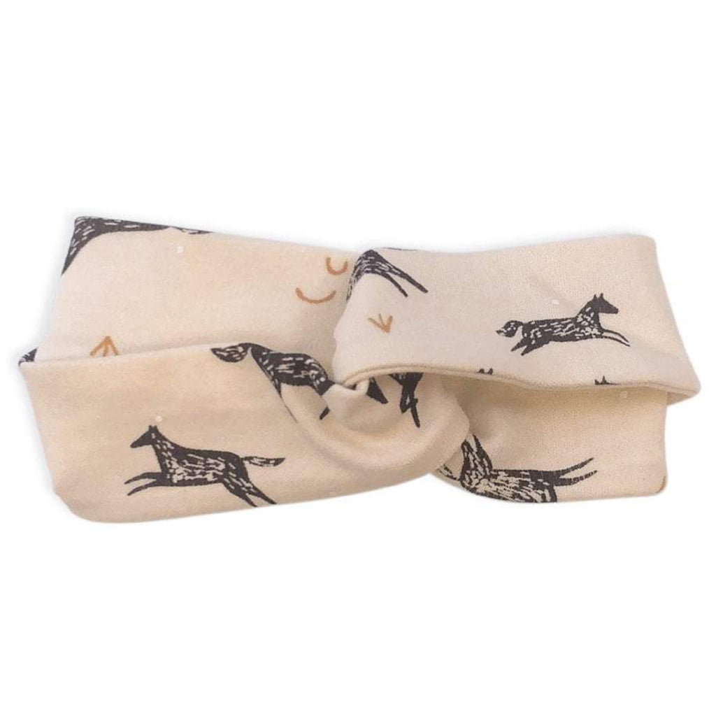 Finn + Emma 100% Organic Cotton Baby Headband Accessory wild horses pink brown