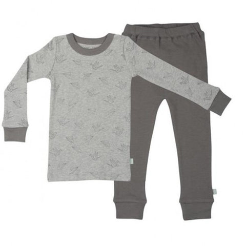 Finn + Emma 100% Organic Cotton Toddler Kid's Pajama Set origami grey