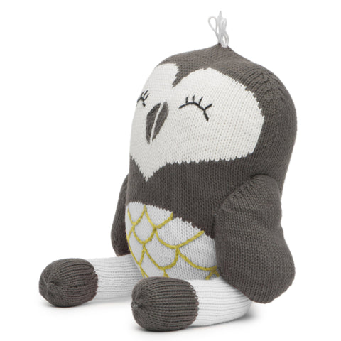 Finn + Emma 100% Organic Cotton yarn and Wood Hand-Knit Rattle Buddy oona the owl grey white