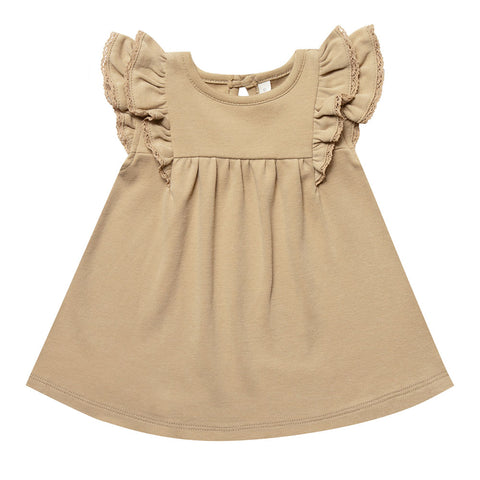 Quincy Mae 100% Organic Cotton Infant Baby Flutter Sleeve Dress honey yellow