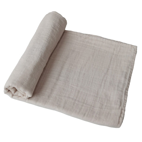 Mushie Fog Organic Cotton Nursery Swaddling Blanket light beige