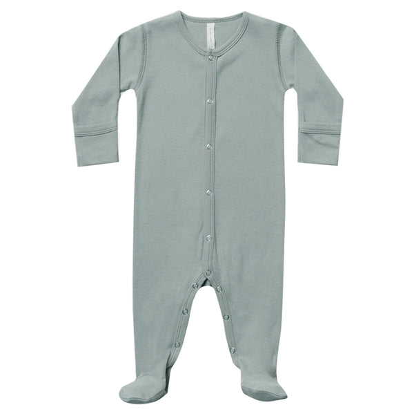 Quincy Mae 100% Organic Cotton Jersey Full-Snap Infant Baby Footie ocean blue green neutral