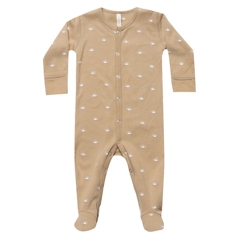 Quincy Mae 100% Organic Cotton Jersey Full-Snap Infant Baby Footie honey yellow white polka dot