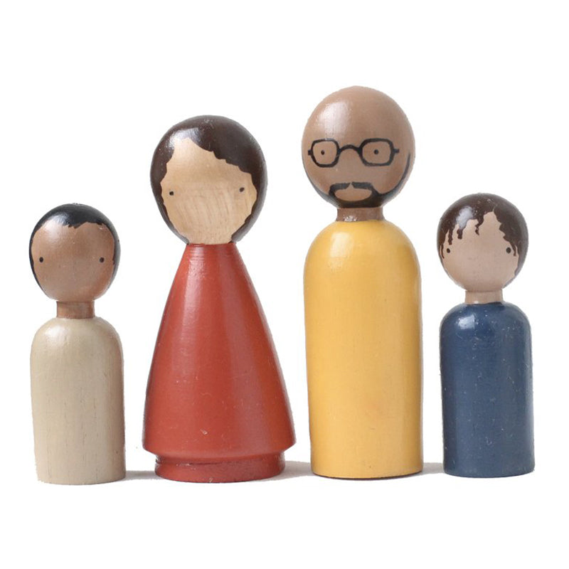 Goose Grease Organic Family II Kid's Handmade Wooden Peg Doll Toy