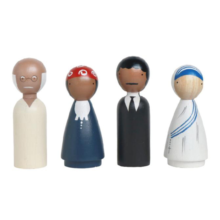 Goose Grease Peace Makers Kid's Handmade Wooden Peg Doll Toy gandhi harriet tubman mother teresa martin luther king jr