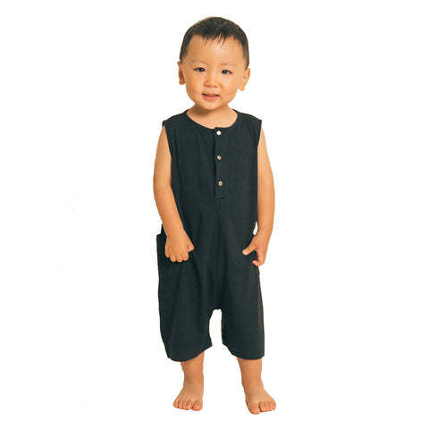 Greige. Stylish Bamboo/Cotton The Happenin' Infant Baby Romper snap closure functional black