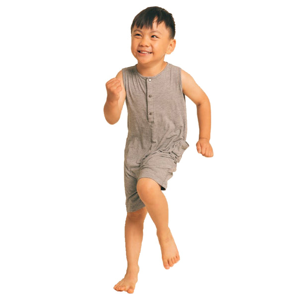 Greige. Stylish Bamboo/Cotton The Happenin' Infant Baby Romper snap closure functional micro stripe grey black