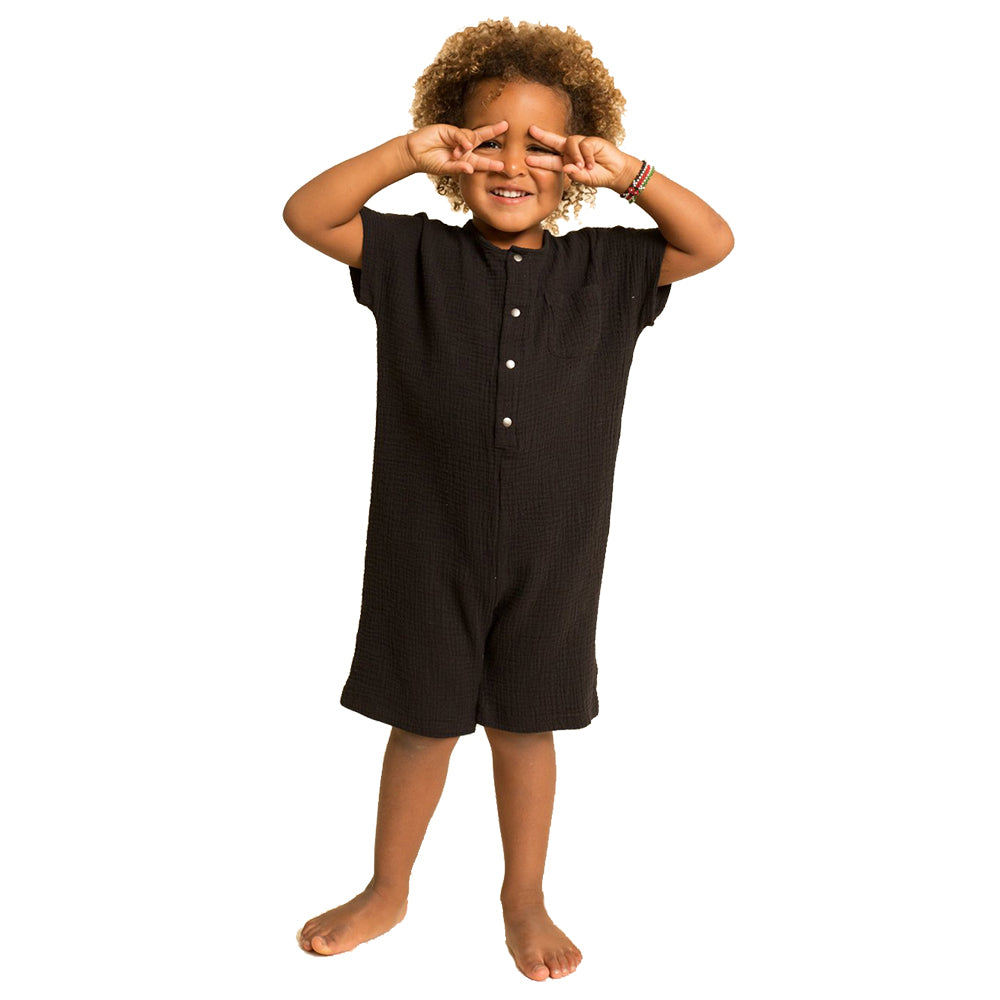Greige. Organic Hemp & Cotton The Just Chillin' Infant Baby Romper black