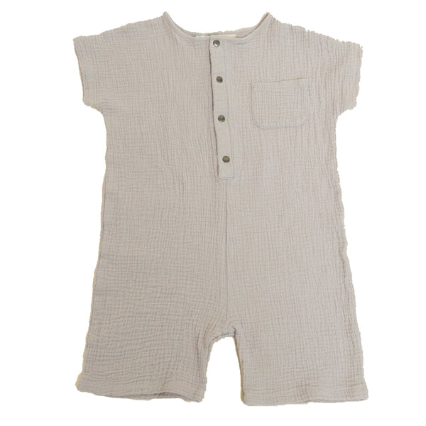 Greige. Organic Hemp & Cotton The Just Chillin' Infant Baby Romper stardust grey