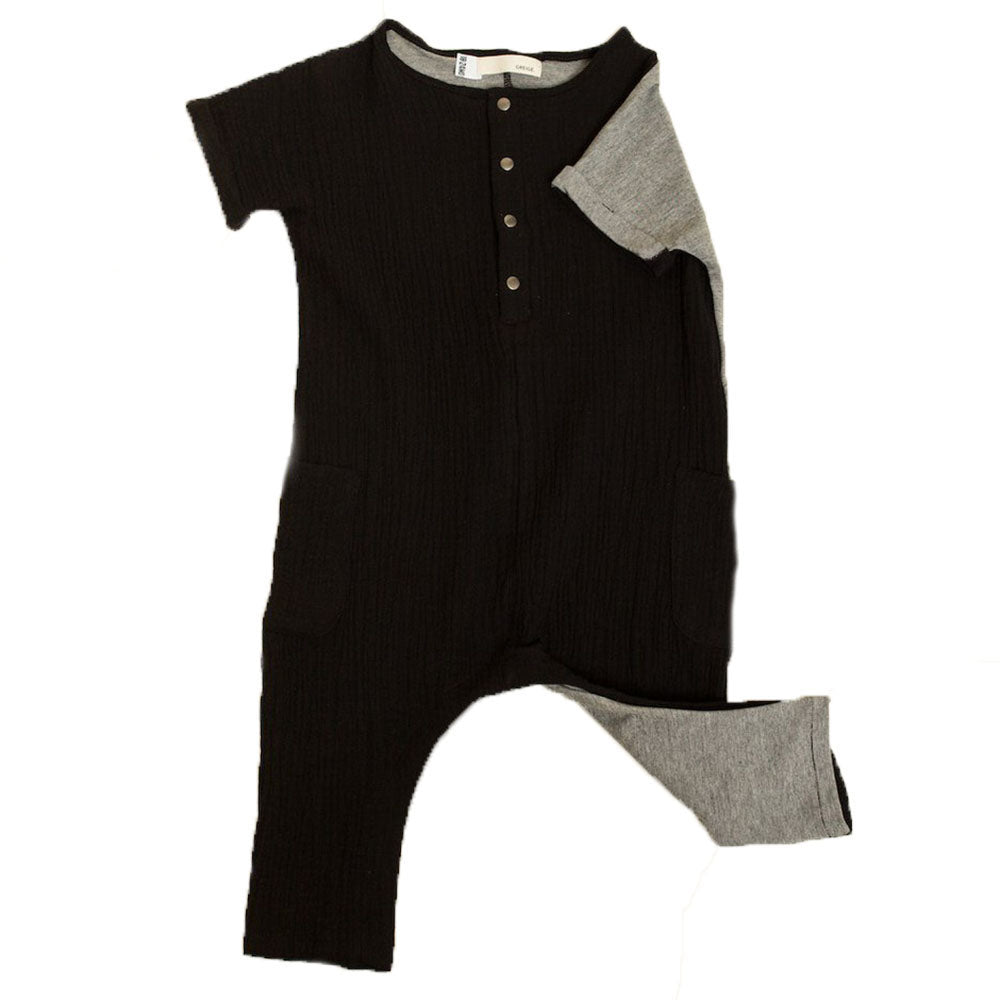 Greige. Bamboo & Cotton The Remix Infant Baby Romper black microstripe gray heather