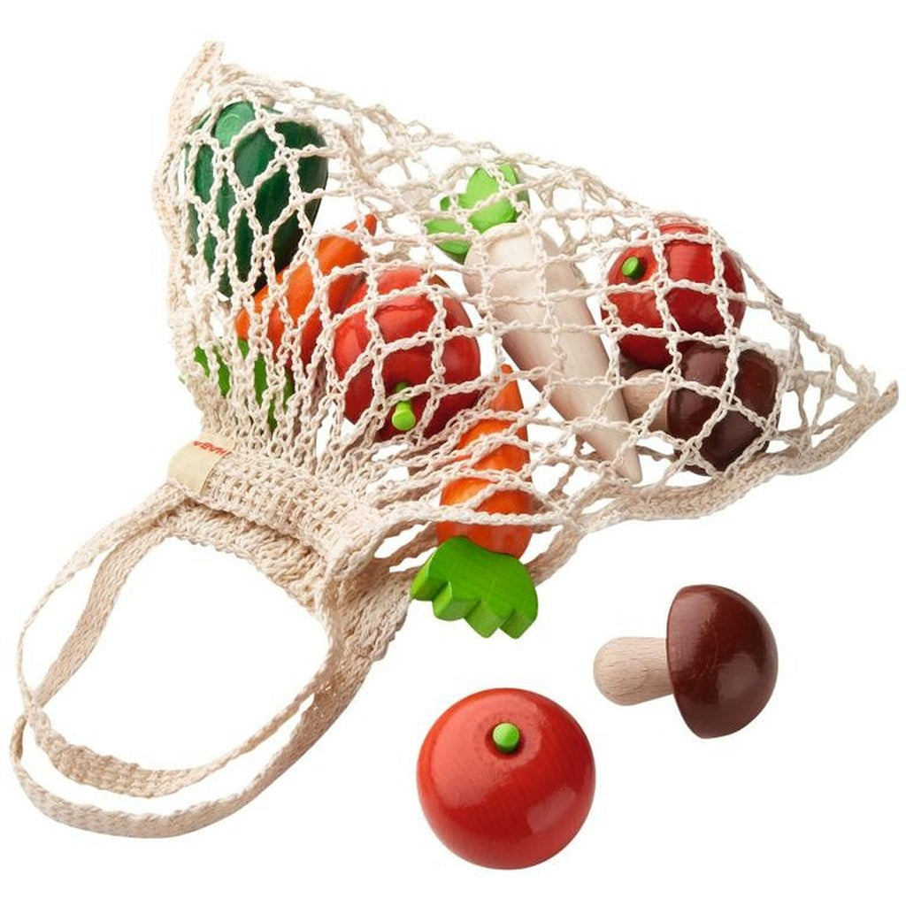 HABA Children's Pretend Play Shopping Net with Wooden Vegetables Set carrot radish tomato mushroom