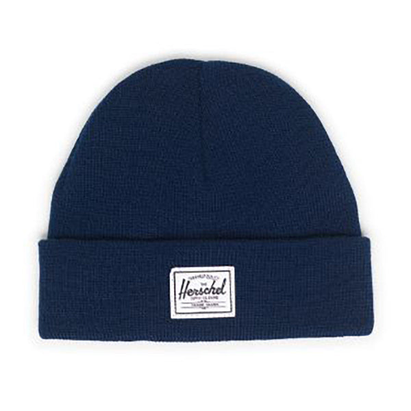 Herschel Cold Weather Flat Knit Toddler Beanie Hat navy dark blue