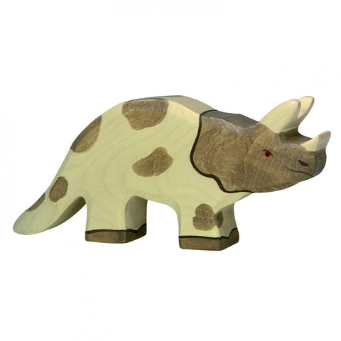 Holztiger Wooden Dinosaurs Children's Toys triceratops three horn brown white