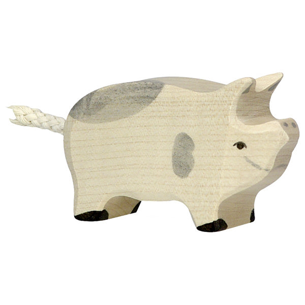 Holztiger Wooden Farm Animals Children's Toys piglet dappled grey spot