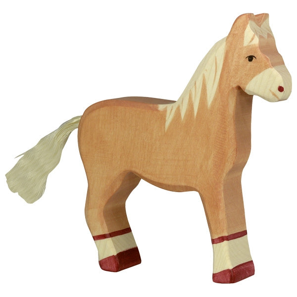 Holztiger Wooden Farm Animals Children's Toys horse standing light brown