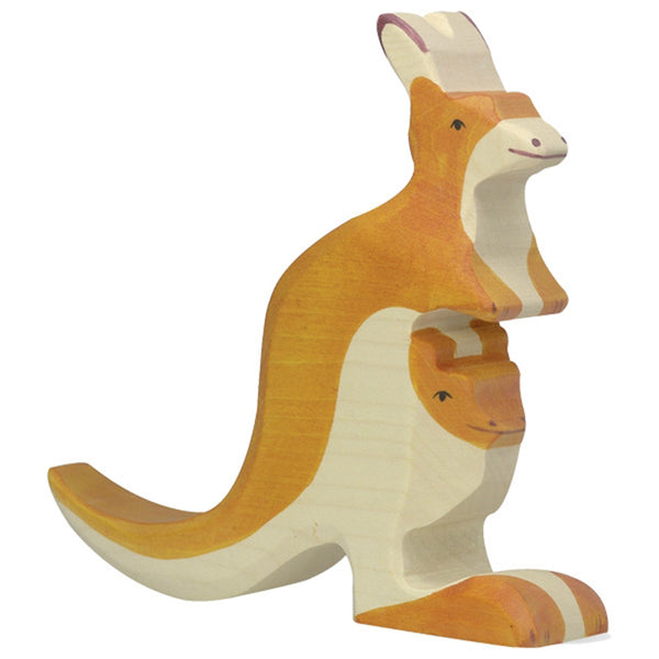 Holztiger Wooden Safari Animals Children's Toys orange kangaroo and young