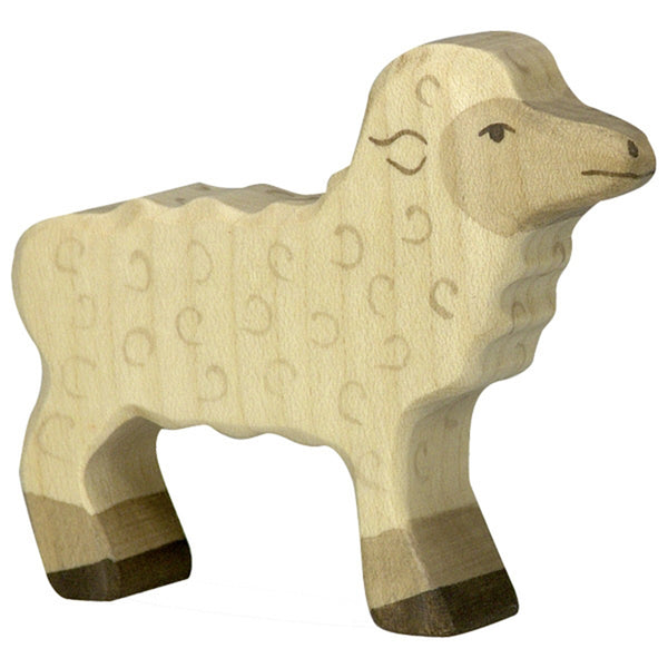 Holztiger Wooden Farm Animals Children's Toys lamb white curly