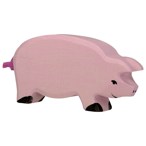 Holztiger Wooden Farm Animals Children's Toys pig pink curly tail female girl