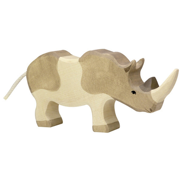 Holztiger Wooden Safari Animals Children's Toys rhinoceros rhino grey white 80158
