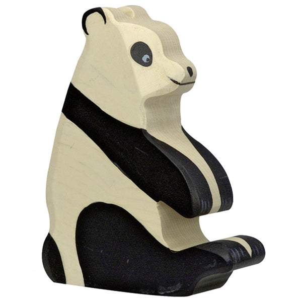 Holztiger Wooden Safari Animals Children's Toys sitting panda bear black and white
