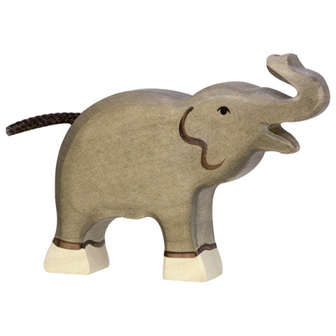 Holztiger Wooden Safari Animals Children's Toys 80150 small elephant trunk raised grey