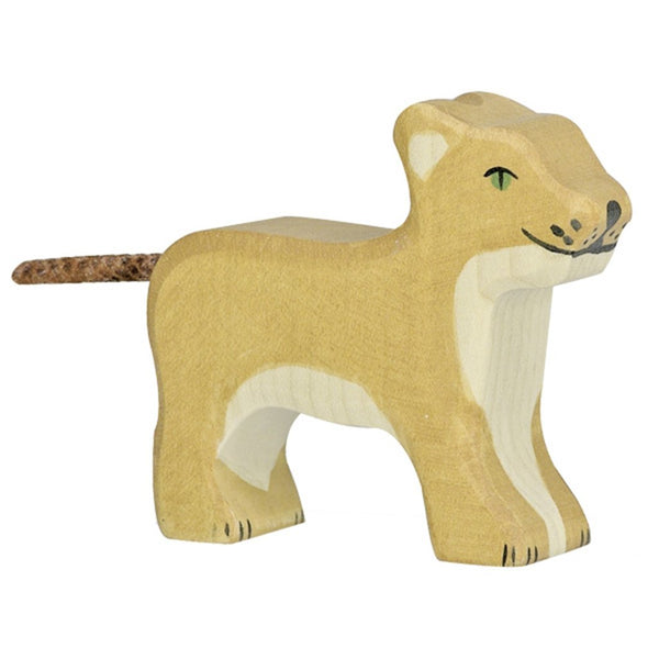 Holztiger Wooden Safari Animals Children's Toys small lion standing beige natural