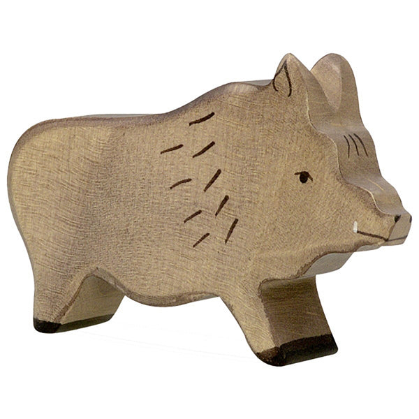 Holztiger Wooden Safari Animals Children's Toys wild boar pig tusks brown