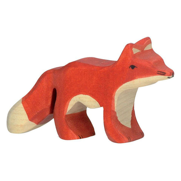Holztiger Wooden Woodland Animals Children's Toys small dark orange standing fox