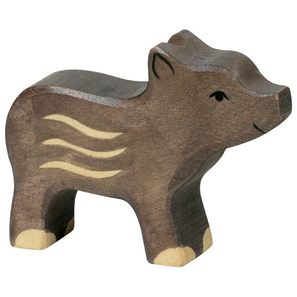 Holztiger Wooden Safari Animals Children's Toys young boar pig black grey
